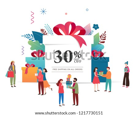 promo christmas new year banner sale poster and flyer with giant gift boxes and