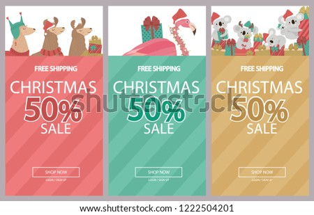 promo christmas new year banner sale poster and flyer with fun animals llama