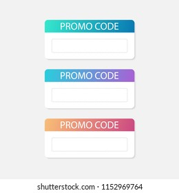 Promo code card. Discount on the banner. Discount icon. Vector stock illustration.