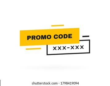 Promo code, coupon code label design. Geometric flat banner. Modern vector illustration.