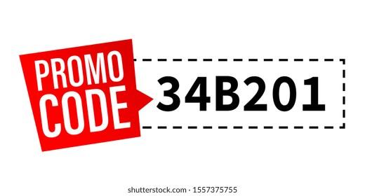 Promo code on white background