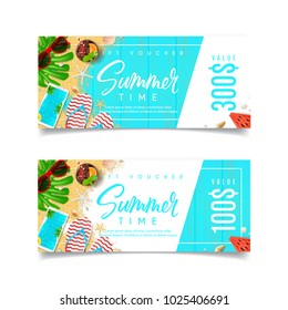 Promo Discount Summer Gift Voucher. Design of coupon usable for invitation and ticket. Top view on holiday decoration on wooden texture. Vector illustration with seasonal offer.