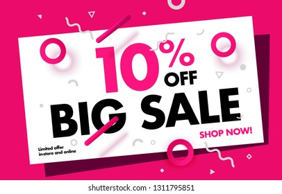 Promo Sale 10% Price Down Coupon Design. Creative Web Banner Design. 10% Price Tag.