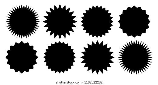 Promo sale sticker of starburst or sunburst icon. Vector black star price tag or quality mark badge for blank label template design.