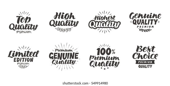 Promo set icons or symbols. Hand-drawn beautiful lettering high quality, premium, best choice, genuine, limited edition, top. Vector illustration