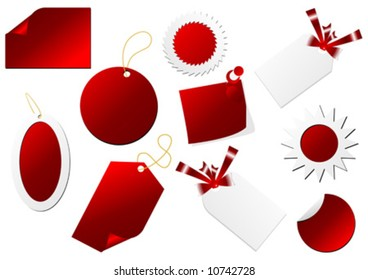 Promo tags with different shapes over white background