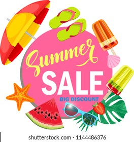Promo web banner template for summer sale. Top view on Summer decoration with realistic objects. Vector illustration with discount offer. Concept of seasonal vacation in tropical country.