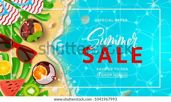 Promo web banner template for summer sale. Top view on Summer decoration with realistic objects on beach. Vector illustration with discount offer. Concept of seasonal vacation in tropical country.