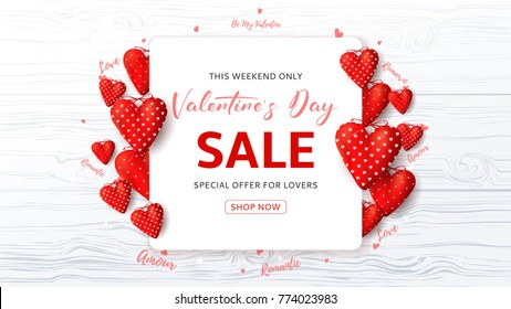 Promo Web Banner for Valentine's Day Sale. Beautiful Background with Red Fabric Hearts and Confetti on Wooden Texture. Vector Illustration with Seasonal Offer.