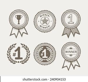 Promo winner badges, hand drawn. EPS8.