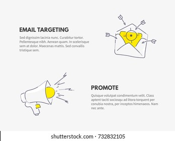 Promote and email targeting. Marketing business concept. Vector thin line illustration design.