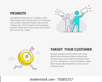 Promote and Target your customer. Marketing business concept. Vector thin line illustration design.