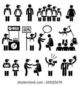Promoter Salesman Customers at Shopping Mall Stick Figure Pictogram Icons