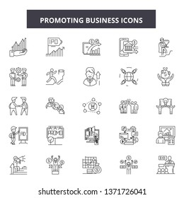 Promoting buisness line icons, signs set, vector. Promoting buisness outline concept, illustration: promotion,business,debuisness,web,concept,flat
