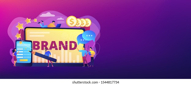 Promoting company credibility. Increasing clients loyalty. Customers conversion. Brand reputation, brand management, sales driving strategy concept. Header or footer banner template with copy space.
