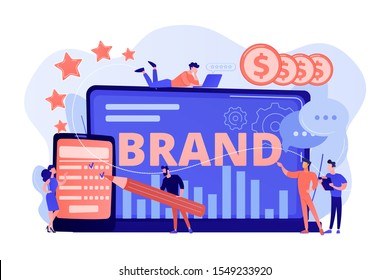 Promoting company credibility. Increasing clients loyalty. Customers conversion. Brand reputation, brand management, sales driving strategy concept. Pink coral blue vector isolated illustration