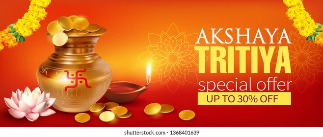 Promotion banner with gold pot (kalash), coins and diya (oil lamp) for Indian festival Akshya Tritiya. Vector illustration.