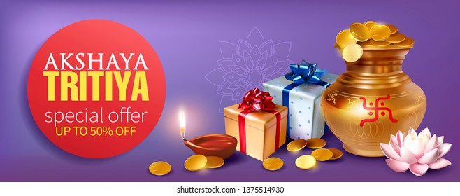 Promotion banner with gold pot (kalash), coins, gifts and diya (oil lamp) for Indian festival Akshya Tritiya. Vector illustration.