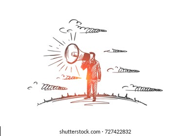 Promotion concept. Hand drawn man yelling through the megaphone. Male person promoting something with horn isolated vector illustration.