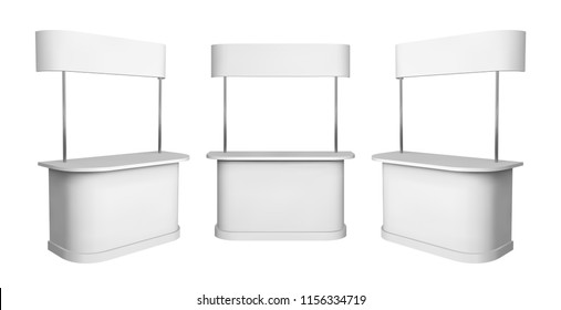 Promotion counter mockup. Isolated vector retail trade stand.