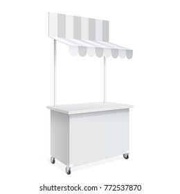 Promotion counter on wheels Retail Trade Stand Isolated on the white background. MockUp Template For Your Design. Vector illustration.