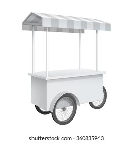 Promotion counter on wheels and a triangular roof covered with striped awning, Retail Trade Stand Isolated on the white background. MockUp Template For Your Design. Vector illustration.