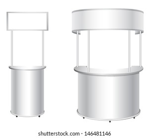 Promotion counter set. Trade stand.  Blank advertising poster isolated on a white background