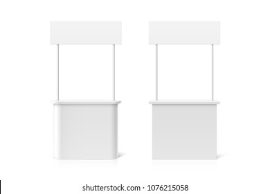 Promotion counter table, retail trade stand or reception counter, vector illustration