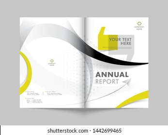 Promotion cover design or template layout for business annual report.