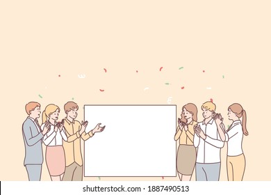 Promotion, demonstration and admiration concept. Group of young smiling positive people office workers standing applauding and looking at white blank mockup for text ad copy space vector illustration