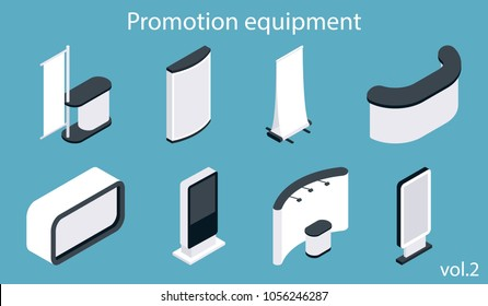 Promotion equipment vector icon set. Isometric white blank exhibition display stand, trade show booth, flag banner mockup set.