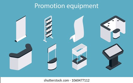 Promotion equipment vector icon set. Isometric white blank exhibition display stand, trade show booth, promotion counter mockup set.