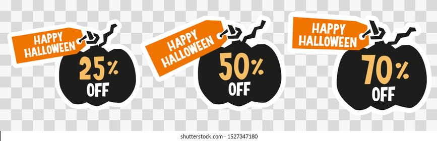 Promotion label design, percent off sticker set, fall sale clipart with pumpkin silhouette for farmer market shop, product decoration halloween promo, advertisement.