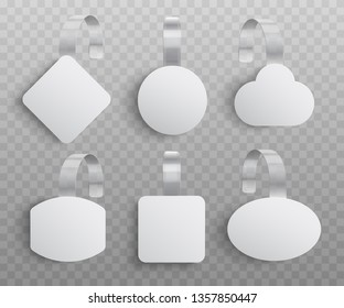 Promotion pointing wobbler for supermarket sale announcement of various shapes in realistic style - vector illustration set of custom advertising danglers mockup isolated on transparent background.