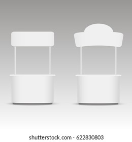 Promotion trade stand. White empty stand with a signboard. Vector illustration.