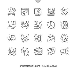 Promotion Well-crafted Pixel Perfect Vector Thin Line Icons 30 2x Grid for Web Graphics and Apps. Simple Minimal Pictogram