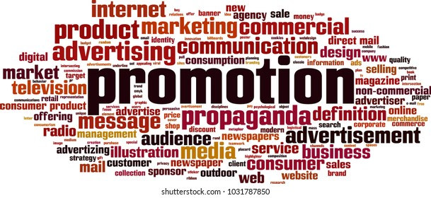 Promotion word cloud concept. Vector illustration