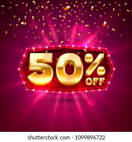 Promotional 50 Discount Gold Shopping. Vector illustration