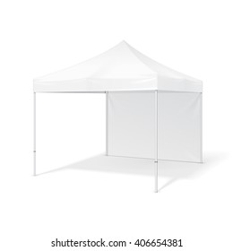Promotional Advertising Outdoor Event Trade Show Pop-Up Tent Mobile Marquee. Mock Up, Template. Illustration Isolated On White Background. Ready For Your Design. Product Packing. Vector