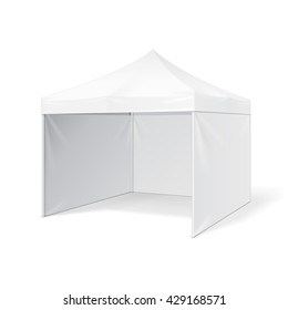 Promotional Advertising Outdoor Event Trade Show Pop-Up Tent Mobile Advertising Marquee. Mock Up, Template. Illustration Isolated On White Background. Ready For Your Design. Product Packing. Vector