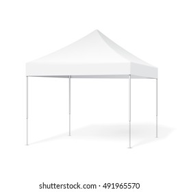 Promotional Advertising Outdoor Event Trade Show Pop-Up Tent Mobile Marquee. Illustration Isolated On White Background. Mock Up Template Ready For Your Design. Vector EPS10