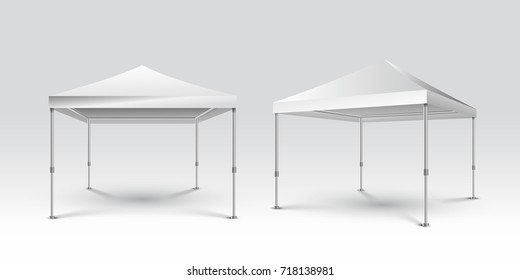 Promotional Advertising Outdoor Event Trade Show Pop-Up Tent. Mockup Template Ready For Your Design. Vector illustration. Isolated on gray background