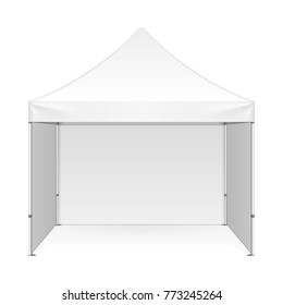 Promotional Advertising Outdoor Event Trade Show Pop-Up Tent Mobile Marquee. Front View. Illustration Isolated On White Background. Mock Up Template Ready For Your Design. Vector EPS10