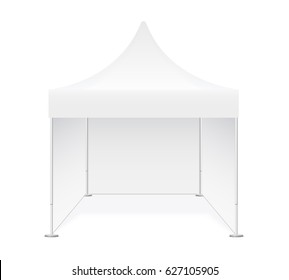 Promotional advertising show outdoor event trade pop-up tent mobile marquee. Illustration of pavilion isolated on white background. Realistic mock up, template for your design. Vector EPS10.