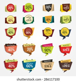 Promotional Badges and Sale Tags in Paper Style. Set for your designs, such us for online shop, email newsletter or email marketing, web banner, print ad, etc. Easy to change colors & remove shadows.
