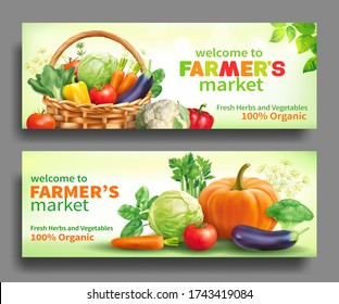 Promotional banners for farmers market. Vector set.