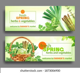 Promotional banners with green spring vegetables for farmers market. Vector set.