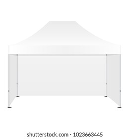 Promotional canopy tent with three walls mockup isolated on white background - front view. Vector illustration