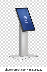Promotional Interactive Information Kiosk Terminal Stand Touch Screen Display. Mock Up Template.