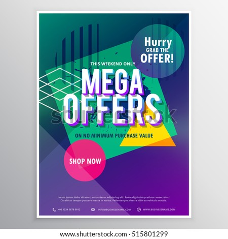 promotional mega sale brochure flyer template stock vector royalty